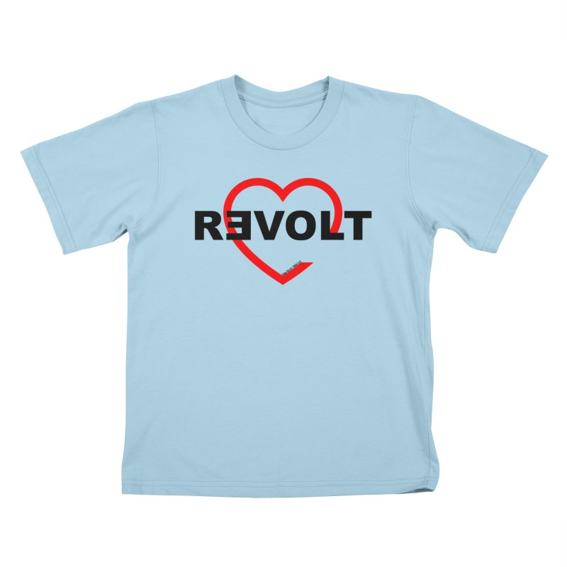 RevoltHeart Black Text  Kids T-Shirt by Revolution Art Offensive