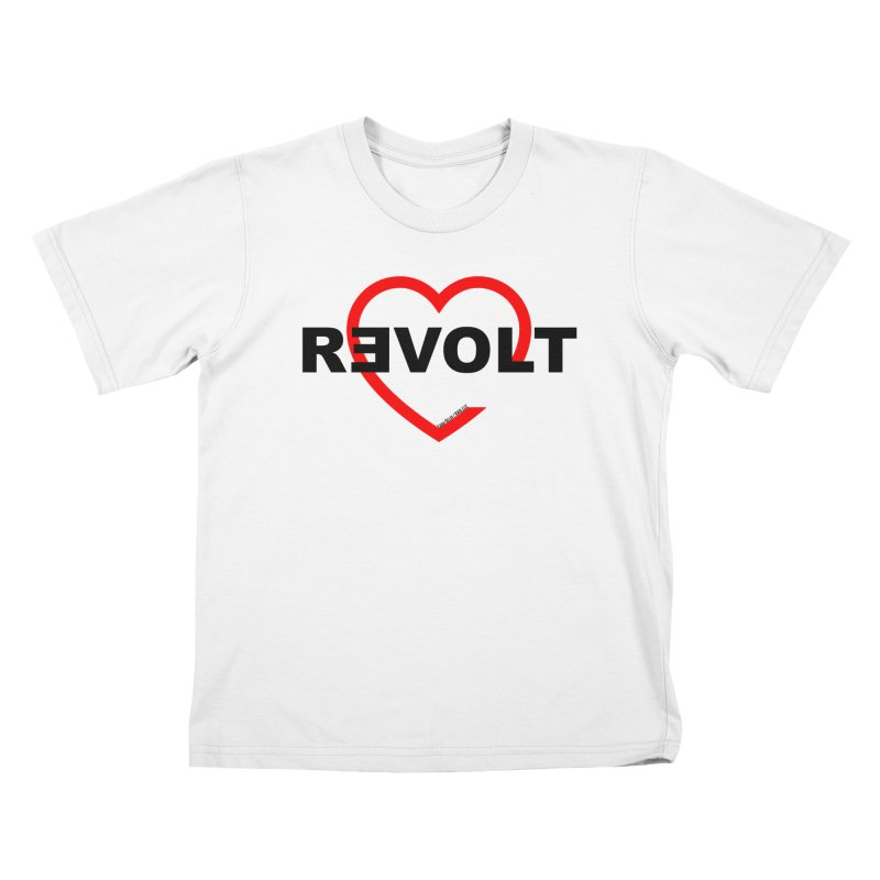 RevoltHeart Black Text  Kids T-Shirt by Revolution Art Offensive