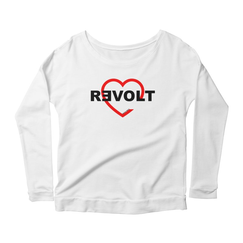RevoltHeart Black Text  Women's Longsleeve Scoopneck  by Revolution Art Offensive