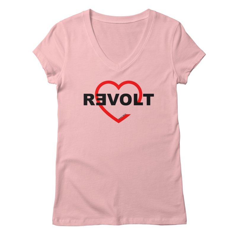 RevoltHeart Black Text  Women's Regular V-Neck by Revolution Art Offensive