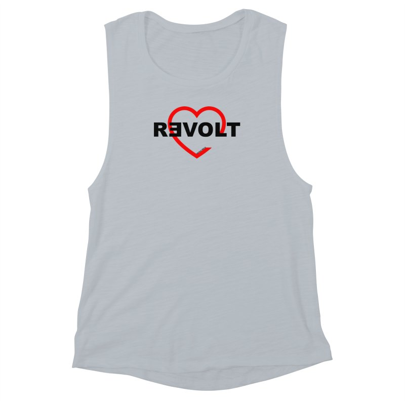 RevoltHeart Black Text  Women's Muscle Tank by Revolution Art Offensive