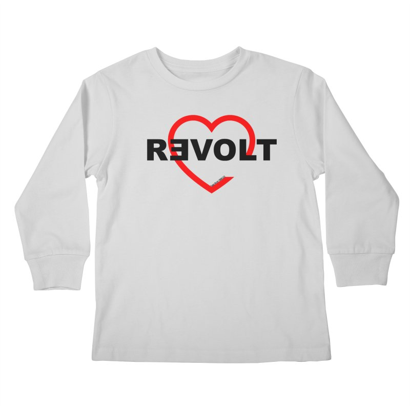 RevoltHeart Black Text  Kids Longsleeve T-Shirt by Revolution Art Offensive