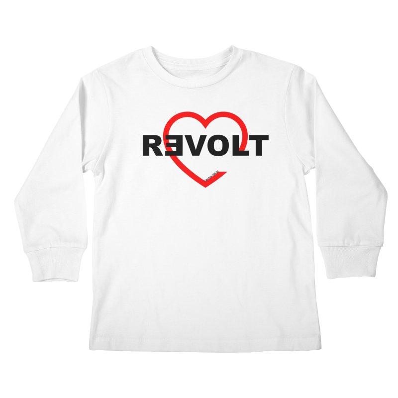 RevoltHeart Black Text  Kids Longsleeve T-Shirt by Revolution Art Offensive