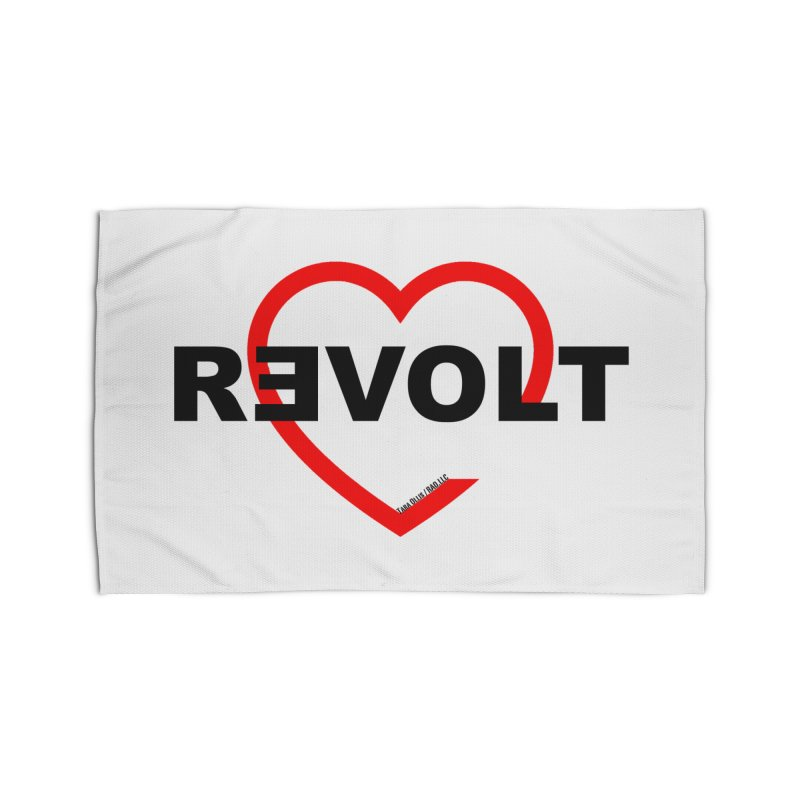 RevoltHeart Black Text  Home Rug by Revolution Art Offensive