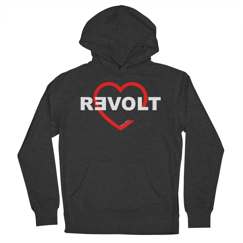 RevoltHeart White Text Men's French Terry Pullover Hoody by Revolution Art Offensive