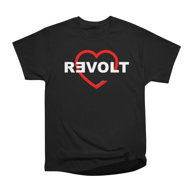 RevoltHeart White Text Men's Heavyweight T-Shirt by Revolution Art Offensive