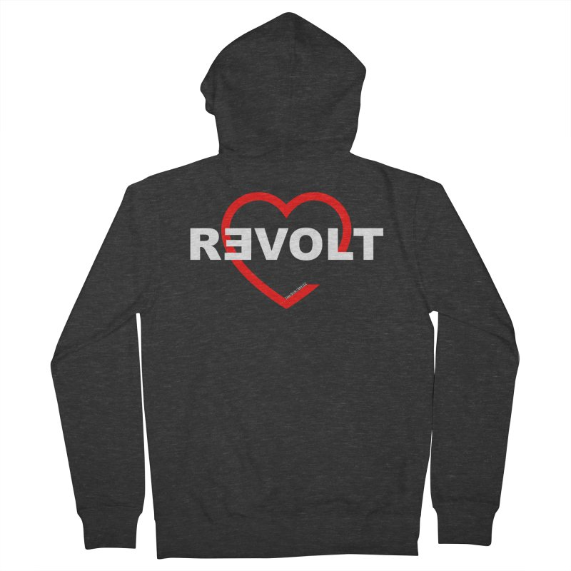 RevoltHeart White Text Women's French Terry Zip-Up Hoody by Revolution Art Offensive