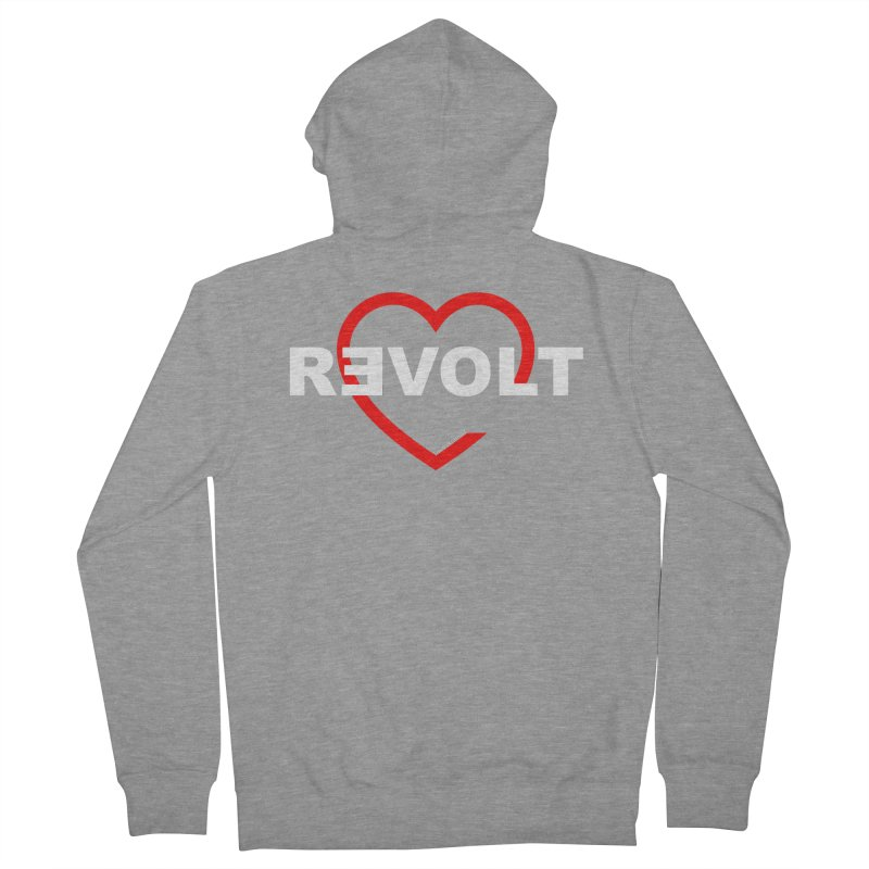 RevoltHeart White Text Women's Zip-Up Hoody by Revolution Art Offensive