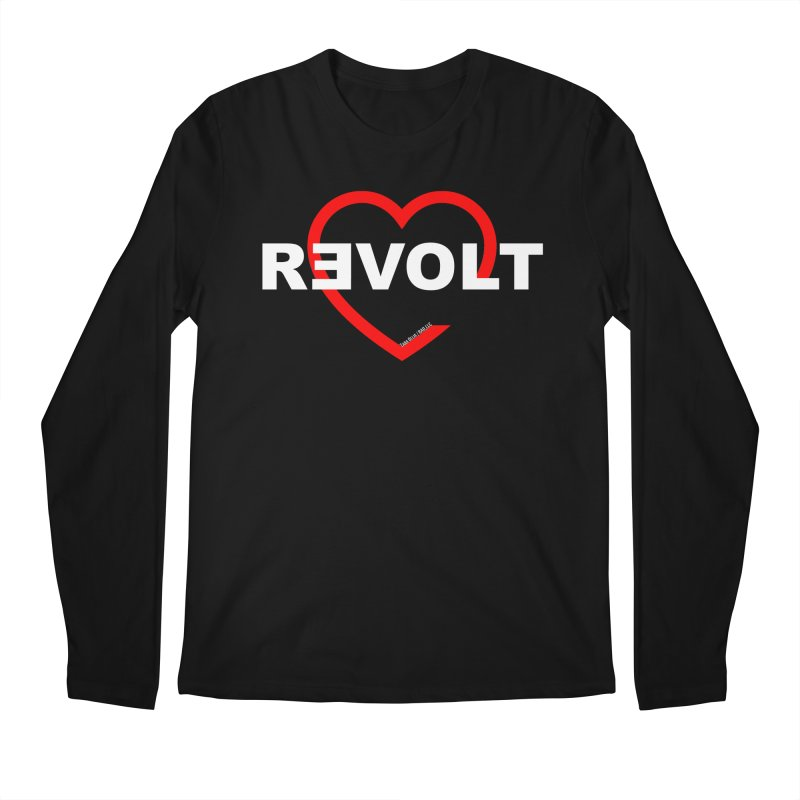 RevoltHeart White Text Men's Regular Longsleeve T-Shirt by Revolution Art Offensive