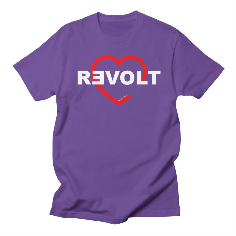 RevoltHeart White Text Women's Regular Unisex T-Shirt by Revolution Art Offensive