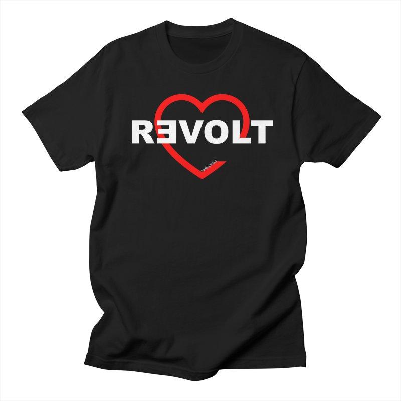 RevoltHeart White Text Women's Regular Unisex T-Shirt by Revolution Art Offensive