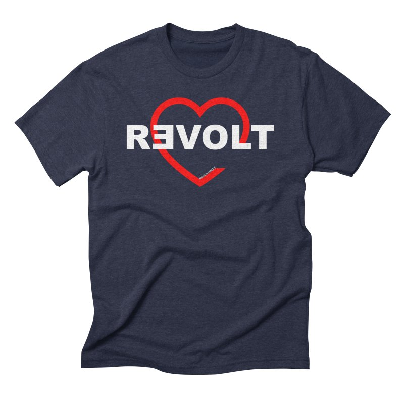RevoltHeart White Text Men's Triblend T-Shirt by Revolution Art Offensive
