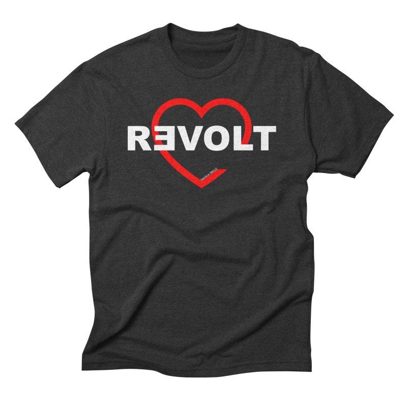RevoltHeart White Text Men's Triblend T-Shirt by Revolution Art Offensive
