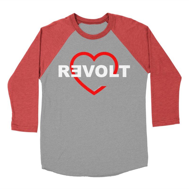 RevoltHeart White Text Women's Baseball Triblend T-Shirt by Revolution Art Offensive