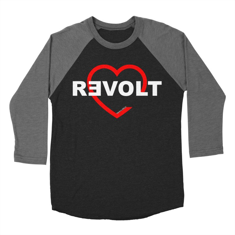 RevoltHeart White Text Men's Baseball Triblend T-Shirt by Revolution Art Offensive