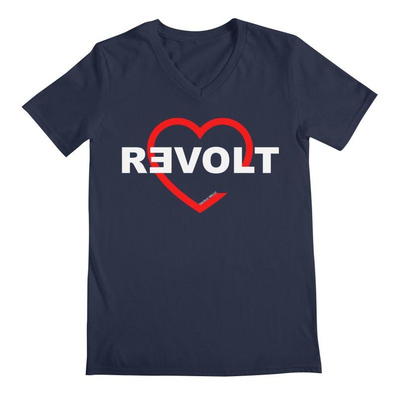 RevoltHeart White Text Men's V-Neck by Revolution Art Offensive