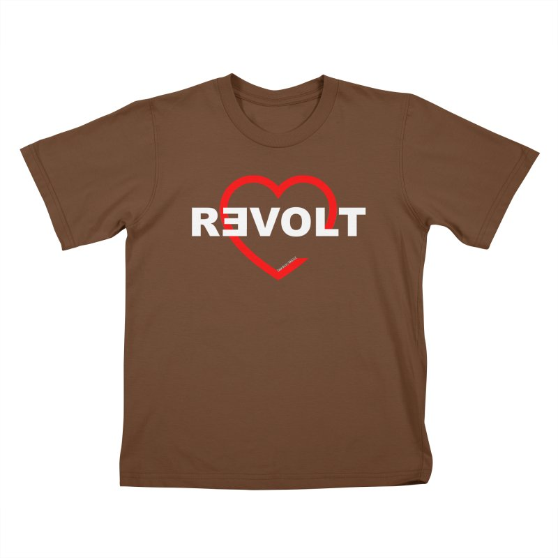 RevoltHeart White Text Kids T-Shirt by Revolution Art Offensive