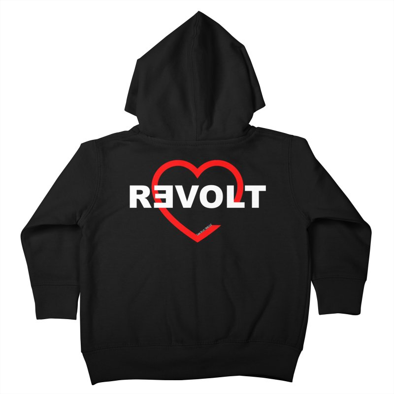 RevoltHeart White Text Kids Toddler Zip-Up Hoody by Revolution Art Offensive