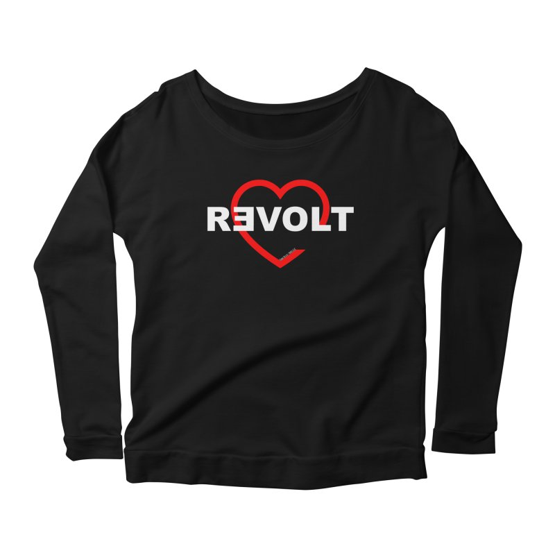 RevoltHeart White Text Women's Longsleeve Scoopneck  by Revolution Art Offensive