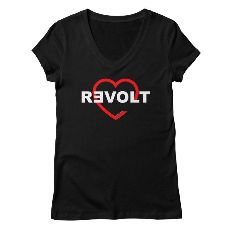 RevoltHeart White Text Women's Regular V-Neck by Revolution Art Offensive