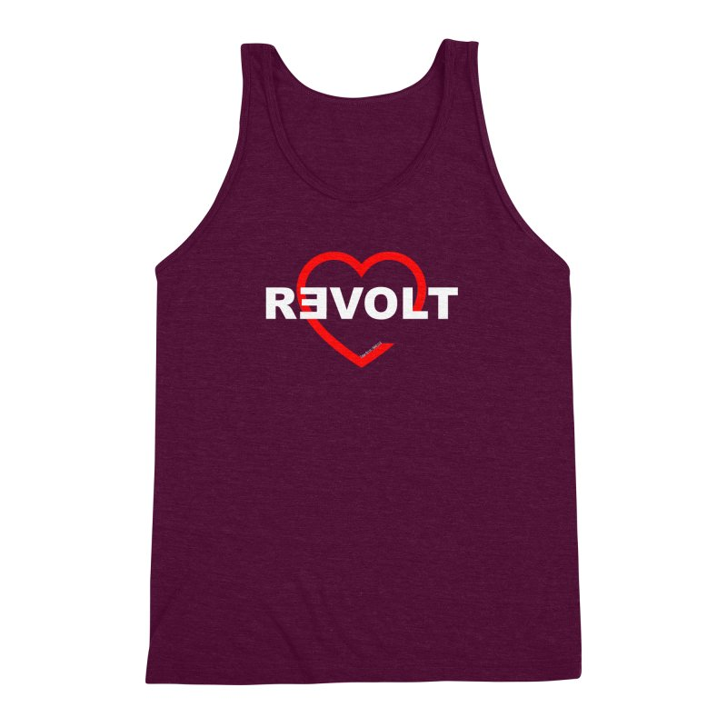 RevoltHeart White Text Men's Triblend Tank by Revolution Art Offensive