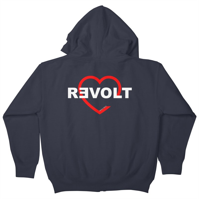 RevoltHeart White Text Kids Zip-Up Hoody by Revolution Art Offensive