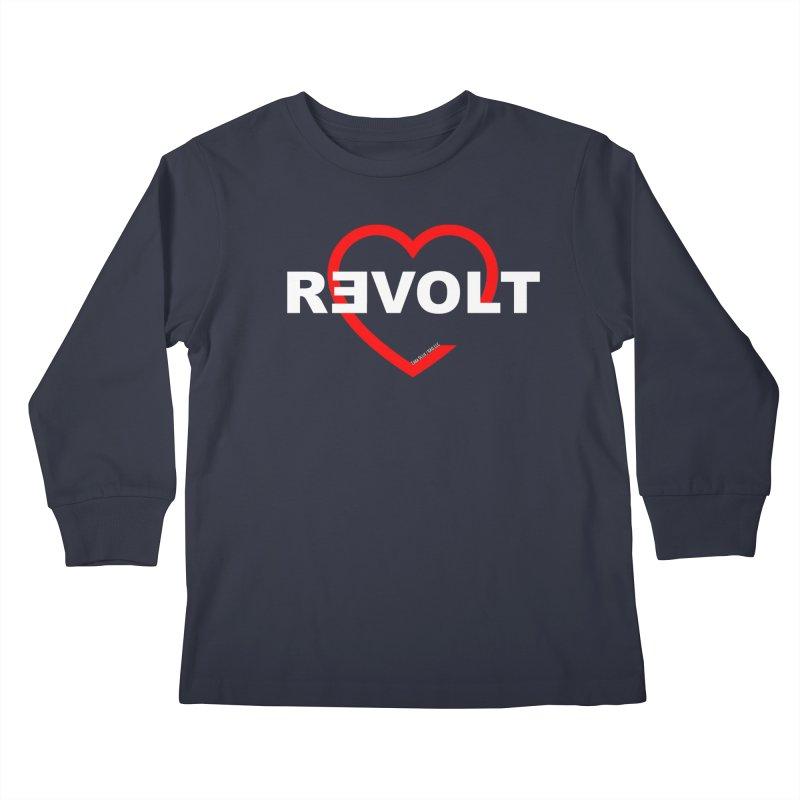 RevoltHeart White Text Kids Longsleeve T-Shirt by Revolution Art Offensive