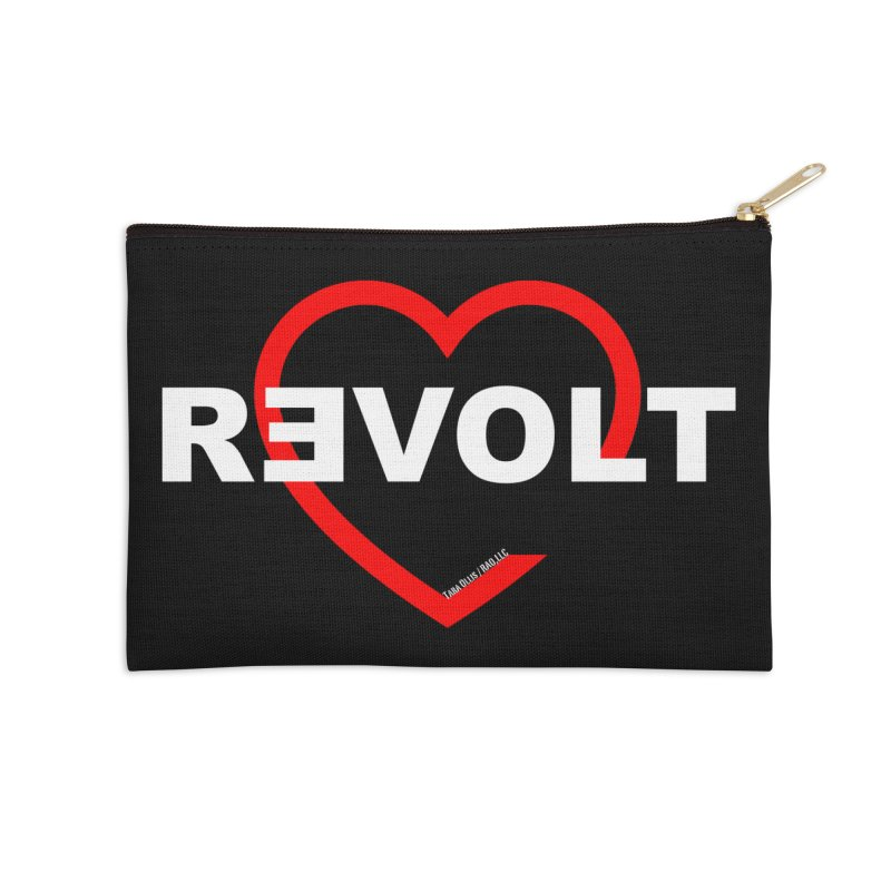 RevoltHeart White Text Accessories Zip Pouch by Revolution Art Offensive