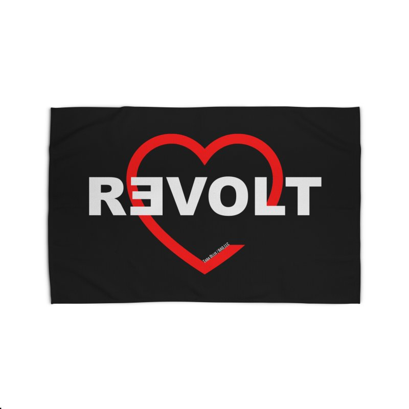 RevoltHeart White Text Home Rug by Revolution Art Offensive