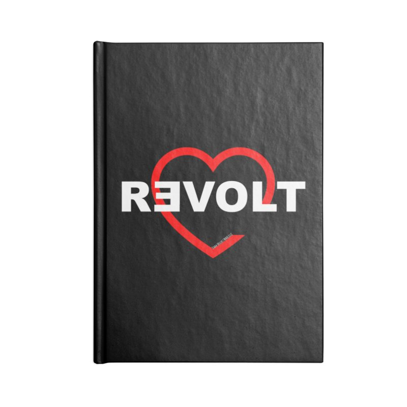RevoltHeart White Text Accessories Blank Journal Notebook by Revolution Art Offensive
