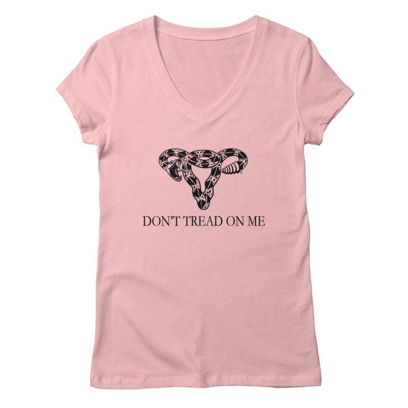 Don't Tread On Me Uterus Rattlesnake Women's Regular V-Neck by Revolution Art Offensive