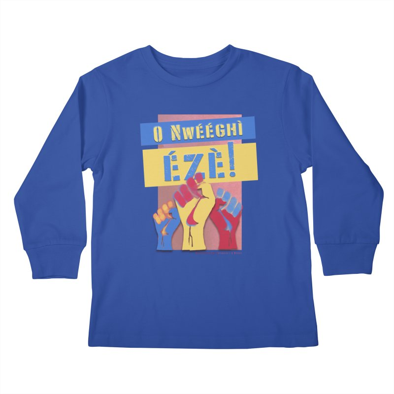No Place for Kings Igbo in Color Kids Longsleeve T-Shirt by Revolution Art Offensive