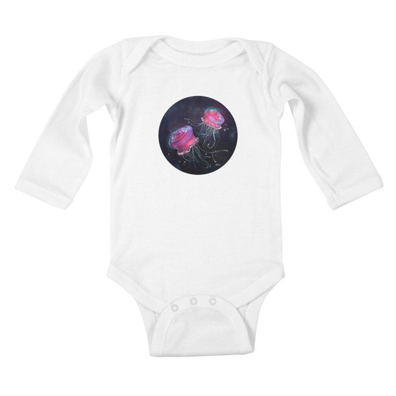 Medusa Kids Baby Longsleeve Bodysuit by riamizuko's Artist Shop