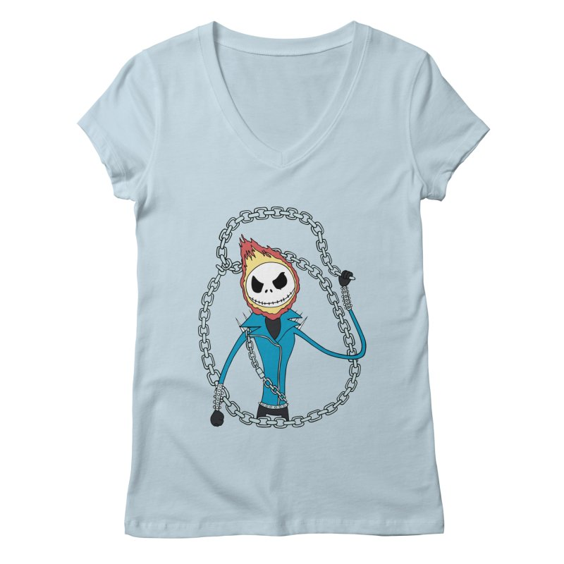 jack skellington rider Women's V-Neck by richardtpotter's Artist Shop