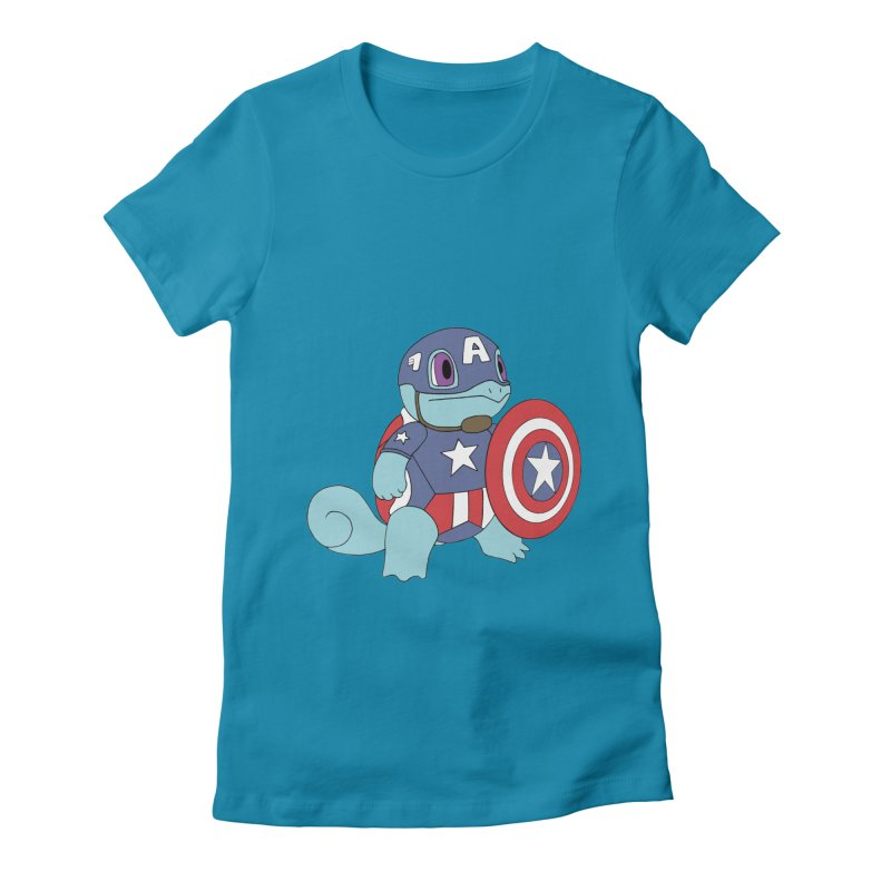 captain squirtle Women's Fitted T-Shirt by richardtpotter's Artist Shop