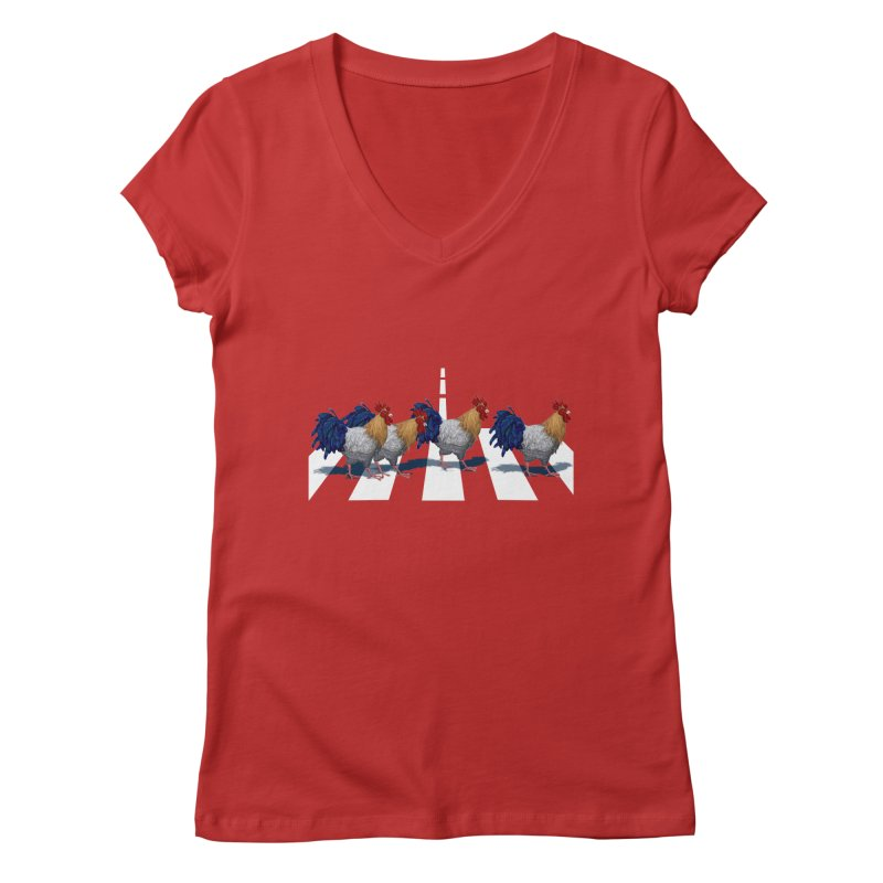 Road Roosters Women's V-Neck by richgrote's Shop
