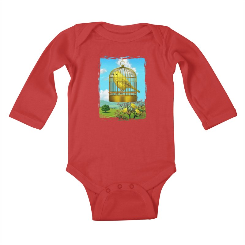 birdcage Kids Baby Longsleeve Bodysuit by richgrote's Shop
