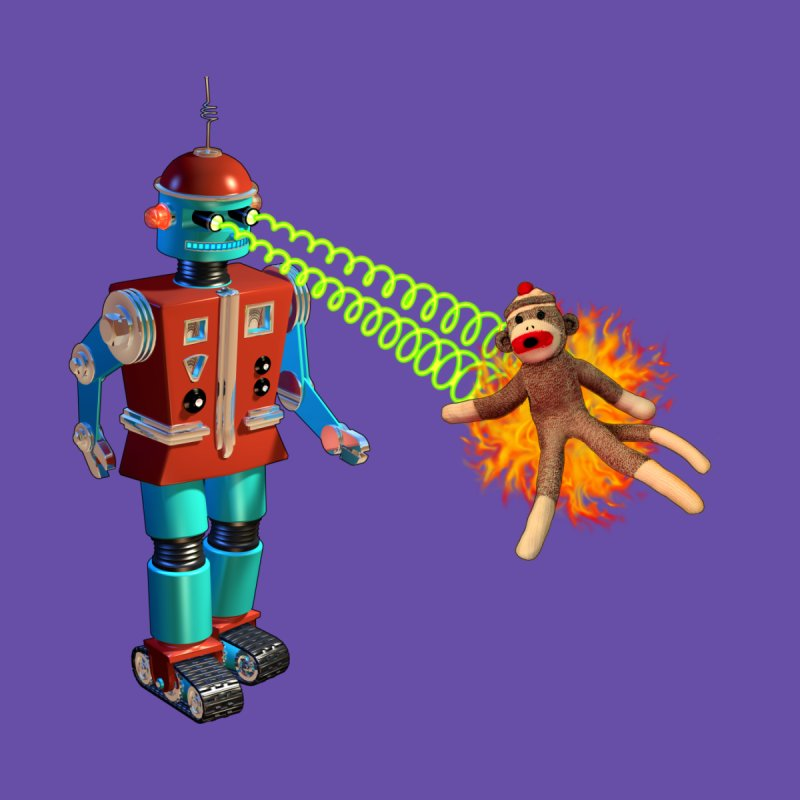 Robot vs Sock Monkey None  by richgrote's Shop