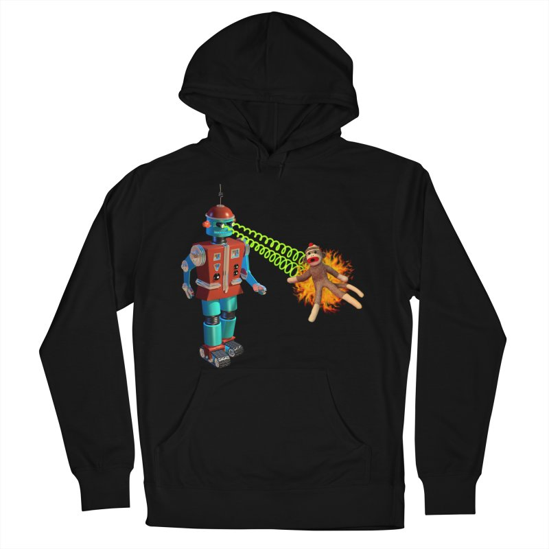 Robot vs Sock Monkey Women's French Terry Pullover Hoody by richgrote's Shop