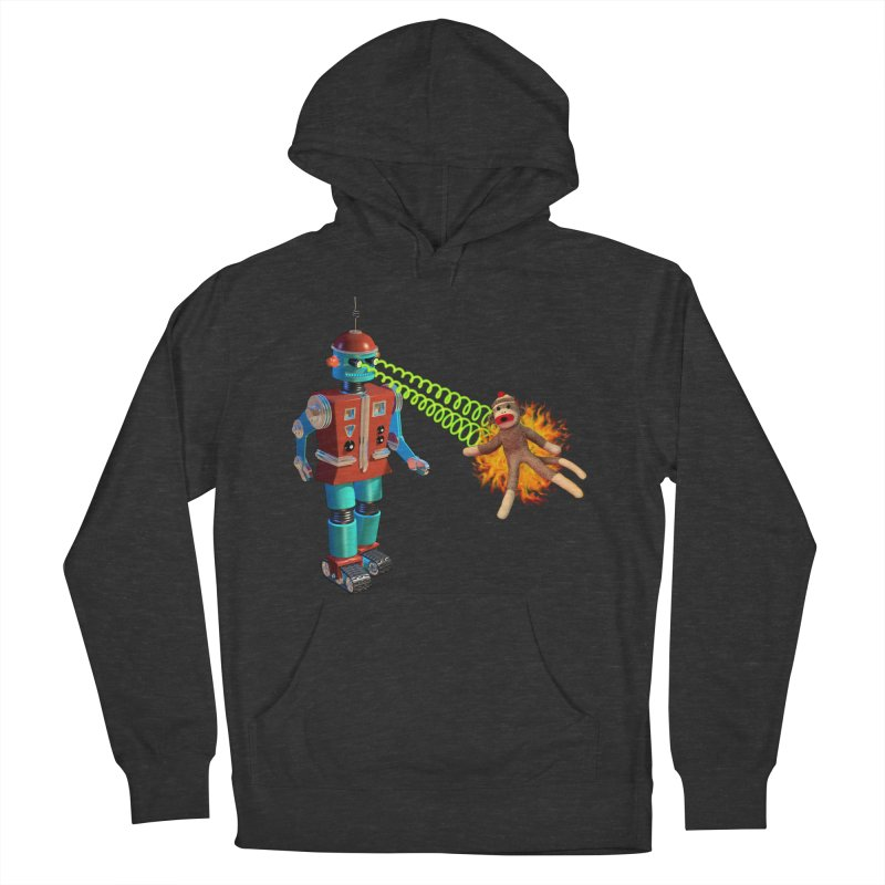Robot vs Sock Monkey Men's French Terry Pullover Hoody by richgrote's Shop