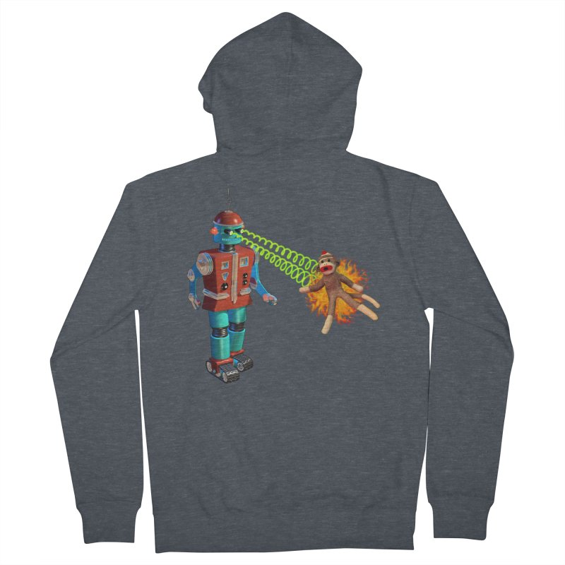 Robot vs Sock Monkey Women's Zip-Up Hoody by richgrote's Shop