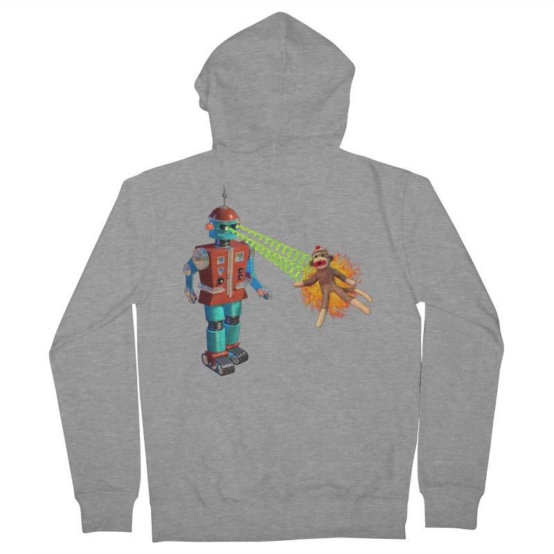 Robot vs Sock Monkey Men's Zip-Up Hoody by richgrote's Shop
