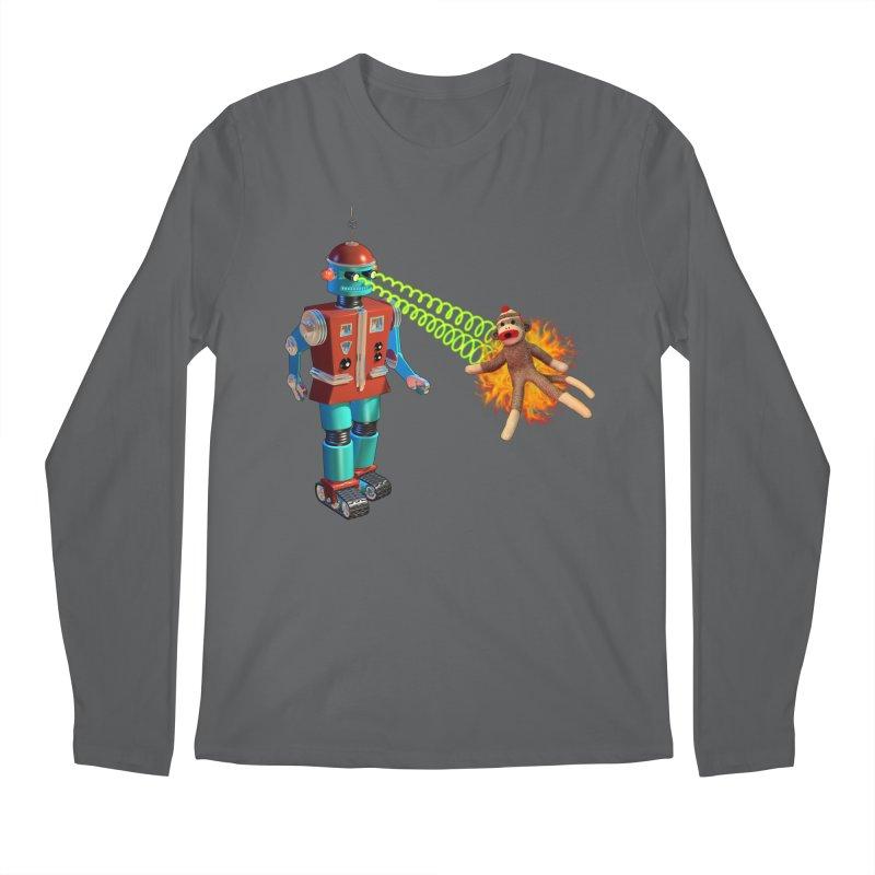 Robot vs Sock Monkey Men's Longsleeve T-Shirt by richgrote's Shop