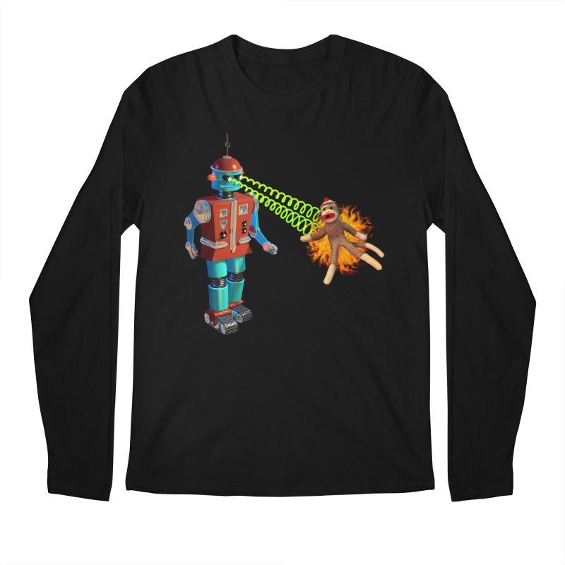 Robot vs Sock Monkey Men's Regular Longsleeve T-Shirt by richgrote's Shop