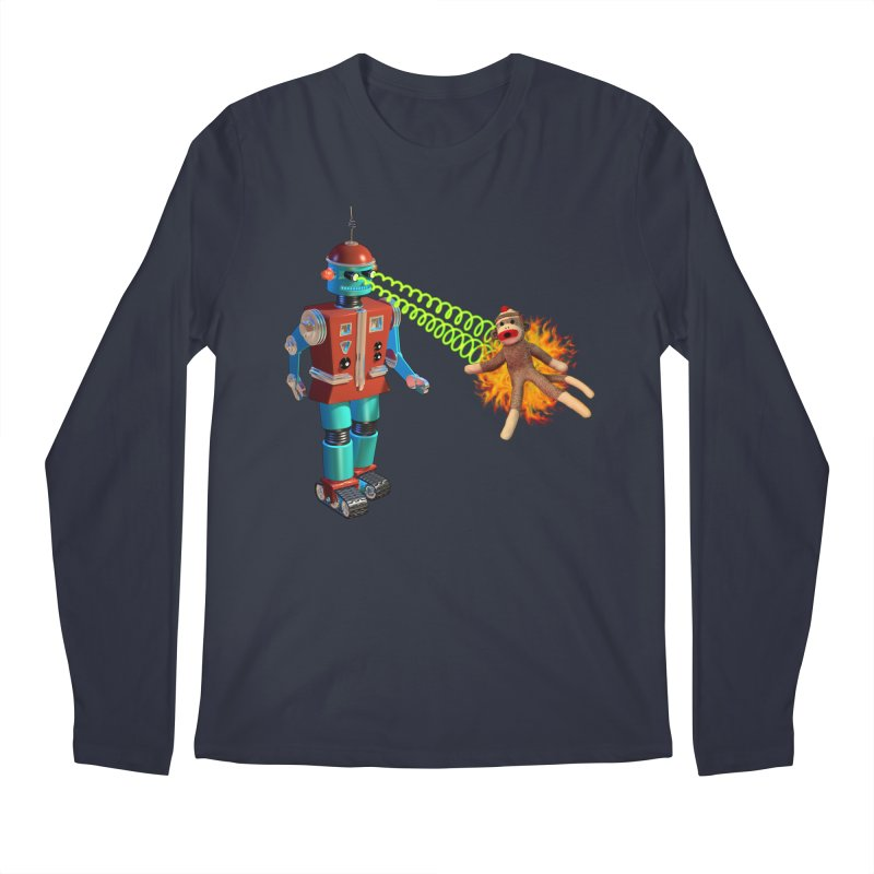 Robot vs Sock Monkey Men's Regular Longsleeve T-Shirt by richgrote's Shop