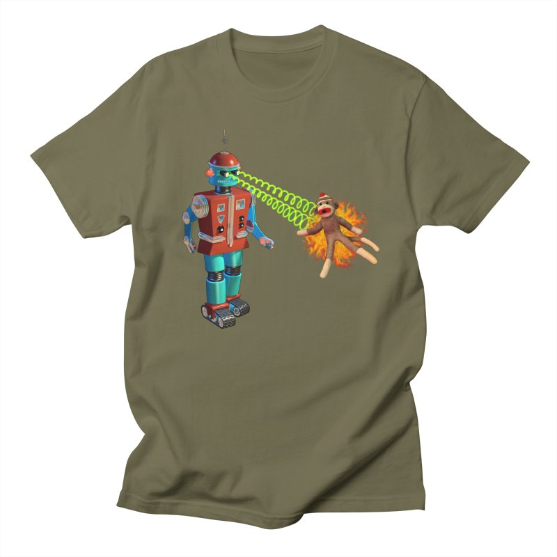 Robot vs Sock Monkey Men's T-Shirt by richgrote's Shop