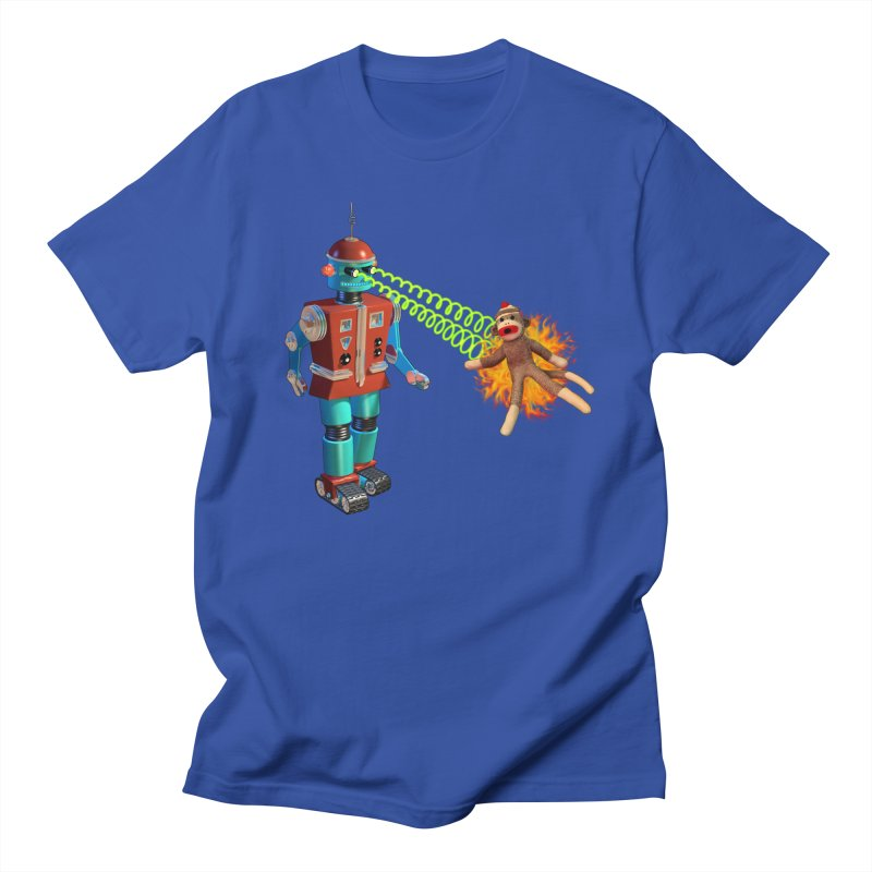 Robot vs Sock Monkey Men's T-Shirt by richgrote's Shop