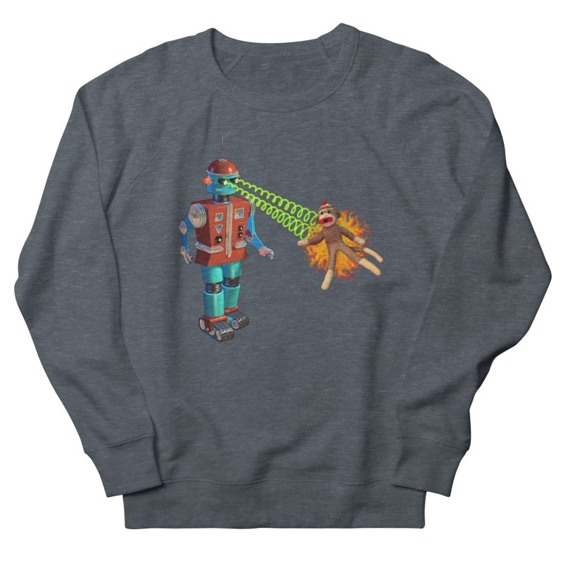Robot vs Sock Monkey Women's French Terry Sweatshirt by richgrote's Shop