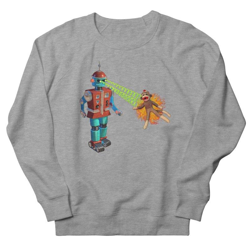 Robot vs Sock Monkey Men's French Terry Sweatshirt by richgrote's Shop