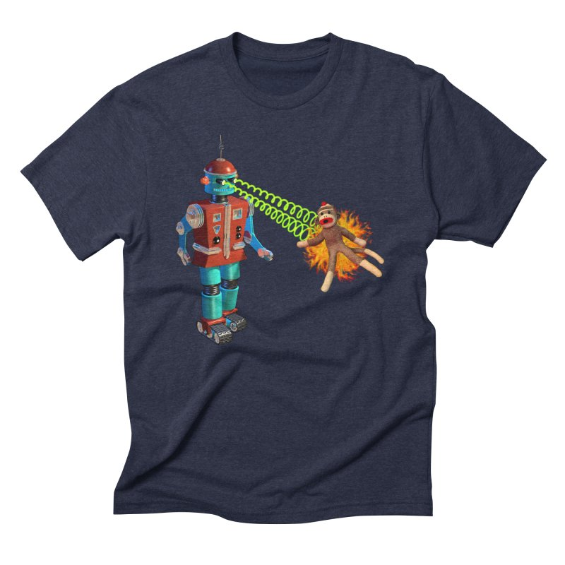 Robot vs Sock Monkey Men's Triblend T-Shirt by richgrote's Shop